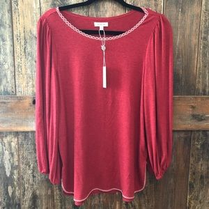 Max Studio, S, NWT, Red Long Sleeve Top